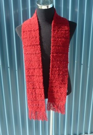 Hand knitted Boucle yarn scarves